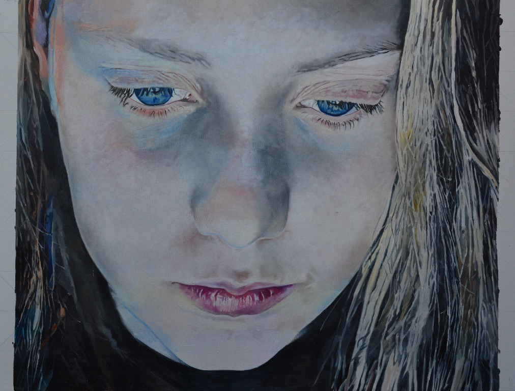 Painting by Harvey Taylor - girl looking down with blue light on her