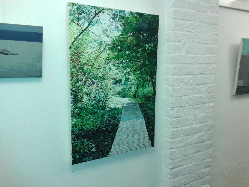 Picture of painting at Contemporary British Painting group show at St Marylebone Parish Church crypt.