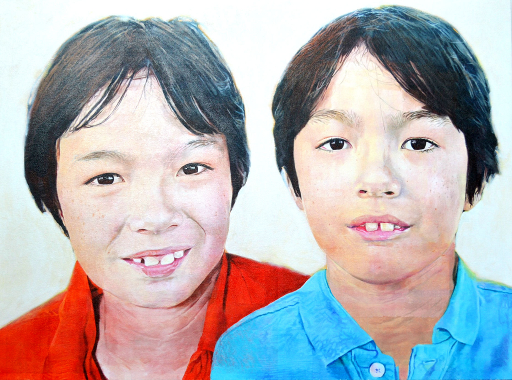 "Double portrait of Kolbe and William - oil on canvas 48"" x 36"""